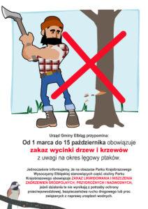 Projekty graficzne, zakaz wycinki drzew ikrzewów - plakat