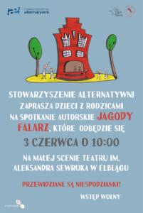 Projekty graficzne, plakat naspotkanie autorskie Jagody Falarz